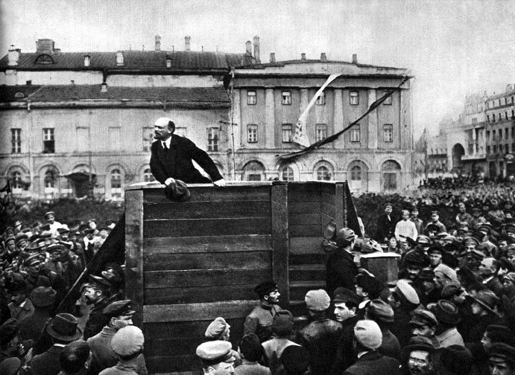 Black white photograph Lenin passionate speech to crowd