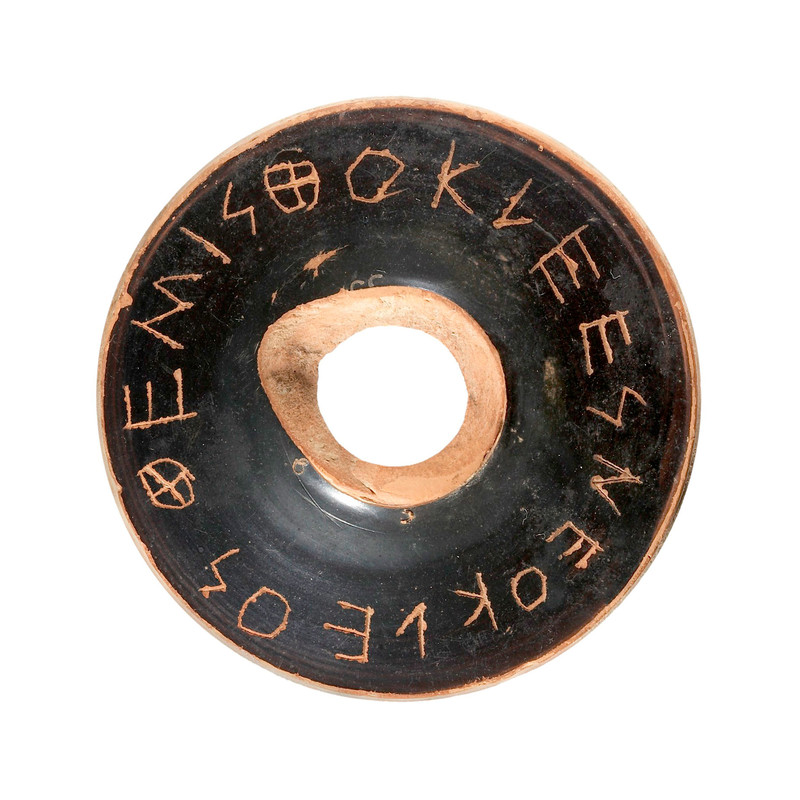 Blqck stone ballot disc selecting Themistocles for exile from Athens 5th Century
