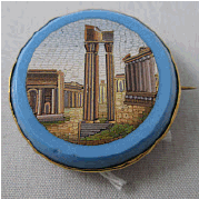 Small blue brooch classical ruins in centre