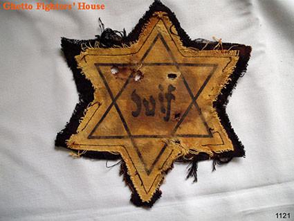 Yellow fabric Jewish star
