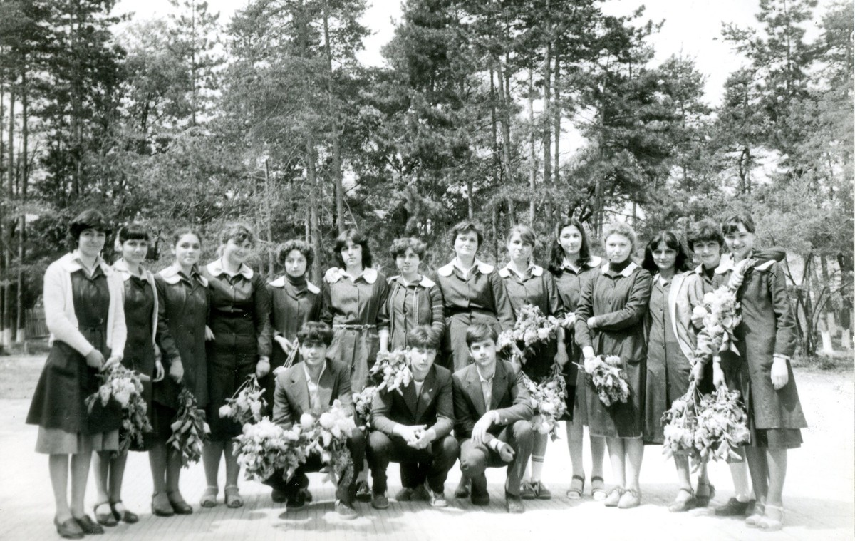 Black and white photo, school boys girls in forest, Bulgaria