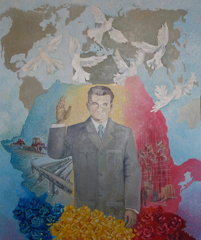 Painting Nicolae Ceausescu with doves and flowers