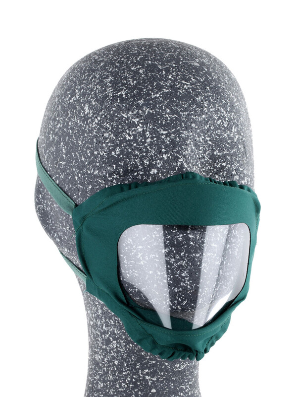 Mask with see-through plastic on mouth
