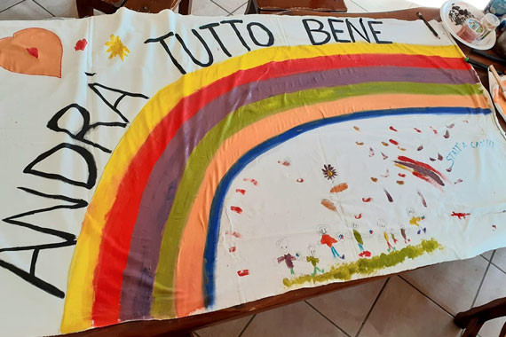 Rainbow banner in Italy