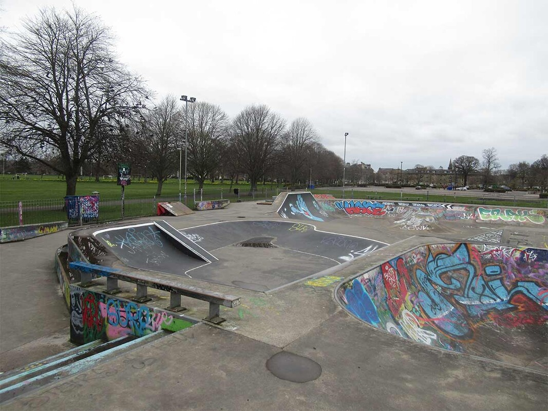Empty skate park with graffiti