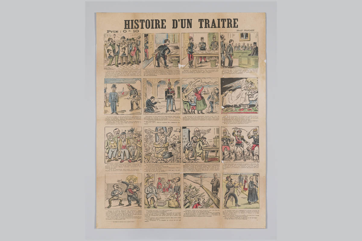 Poster explaining the Dreyfus Affair at the 'History of a traitor'