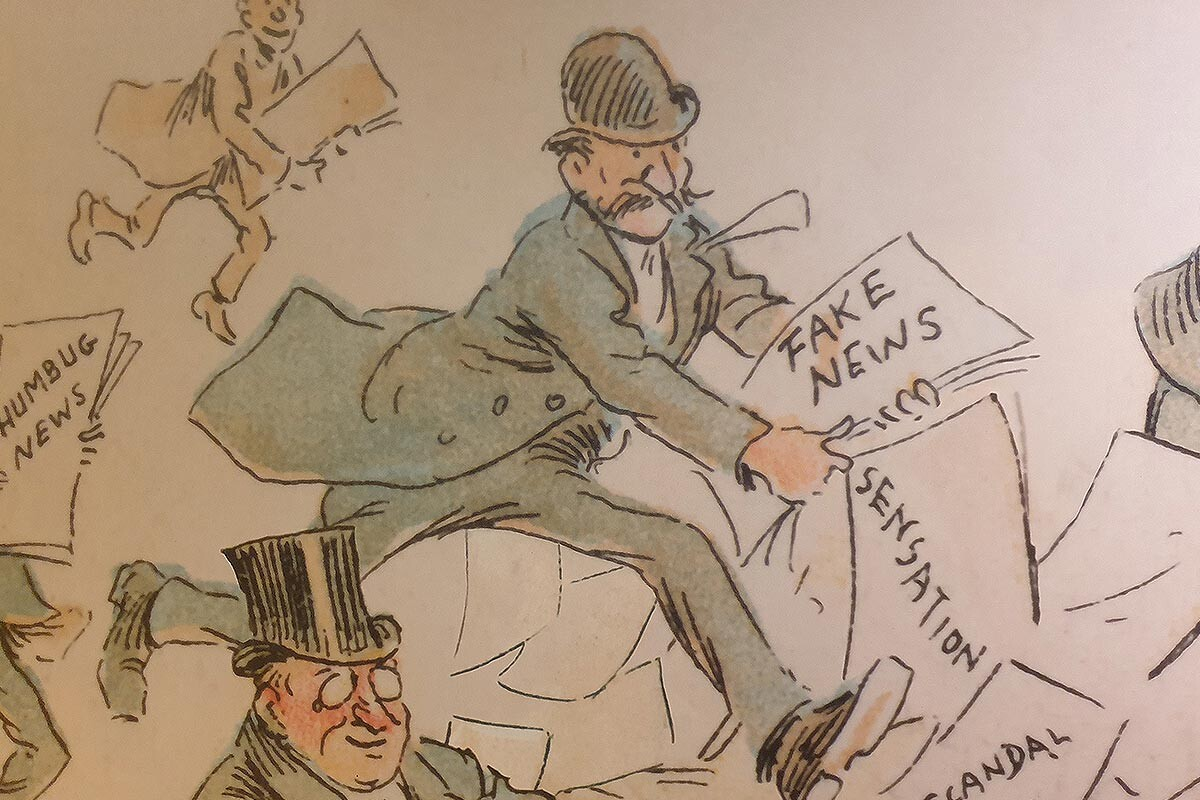 Animated man reading newspaper in 1900s