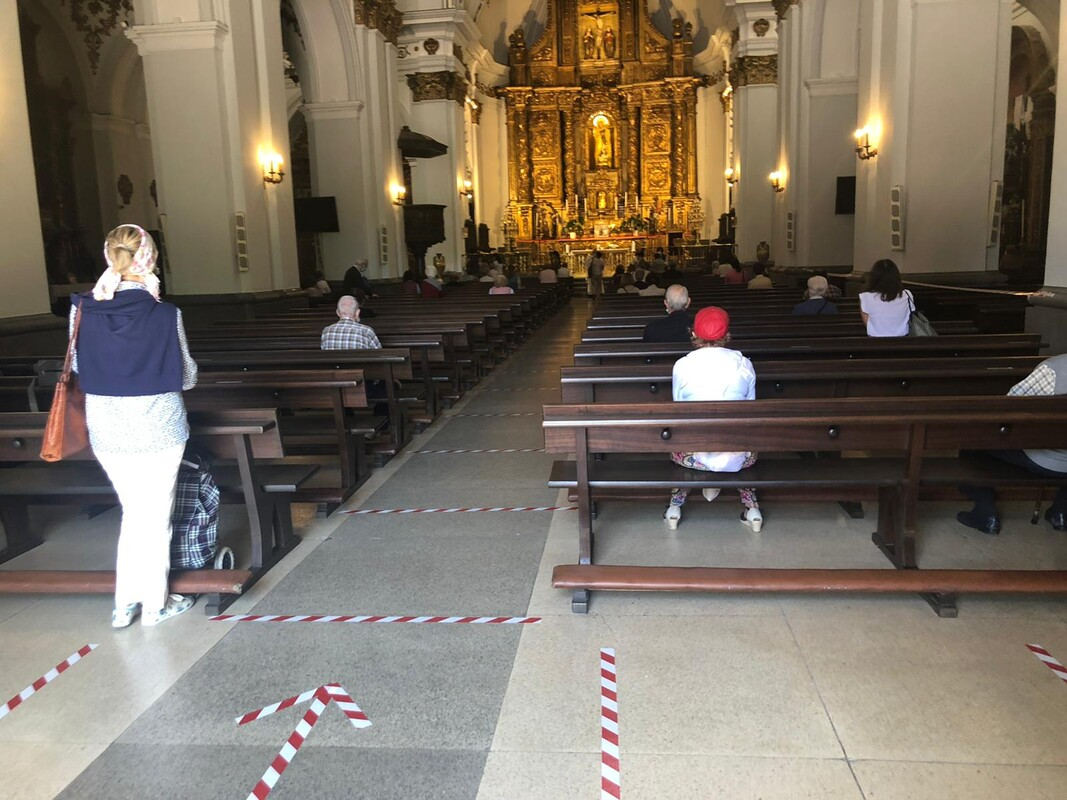 Church service with markings on floor