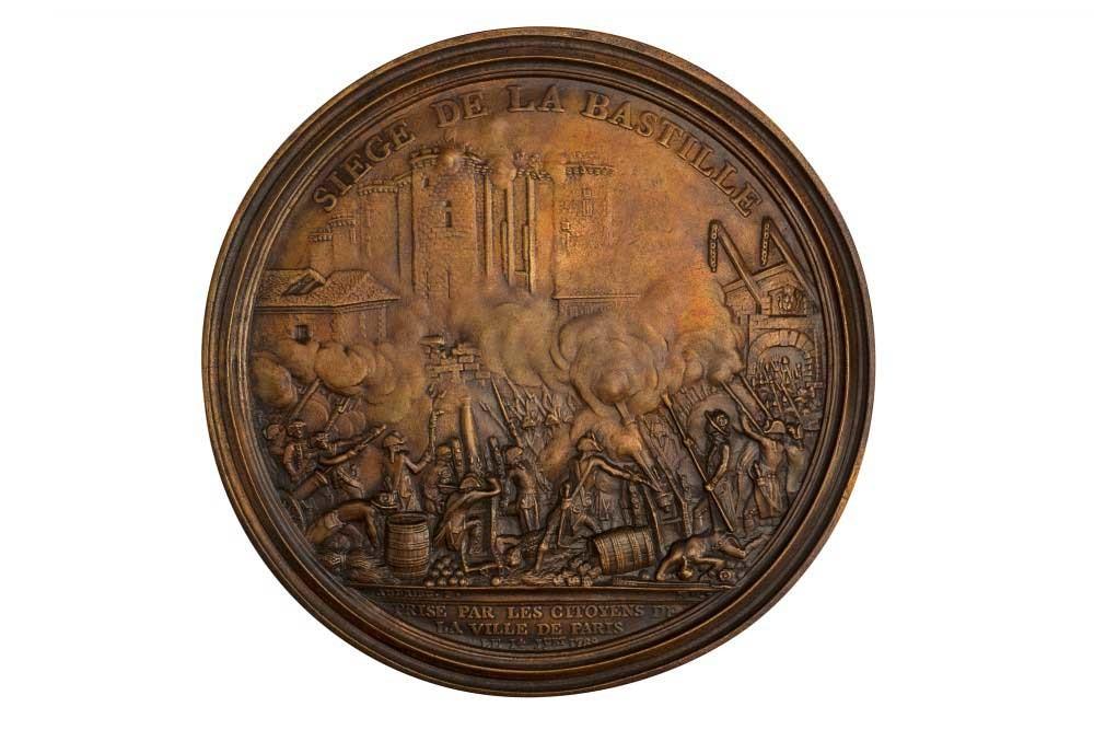 Enlarged medal in cast bronze depicting Storming of Bastille