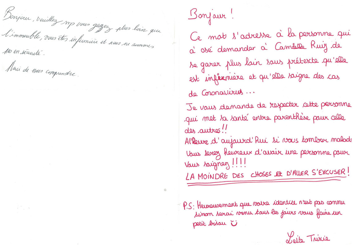 Anonymous message put on the car windshield of the nurse Camille Ruiz, and solidarity message in answer to it, Valence, France, end of March 2020, donated to the House of European History