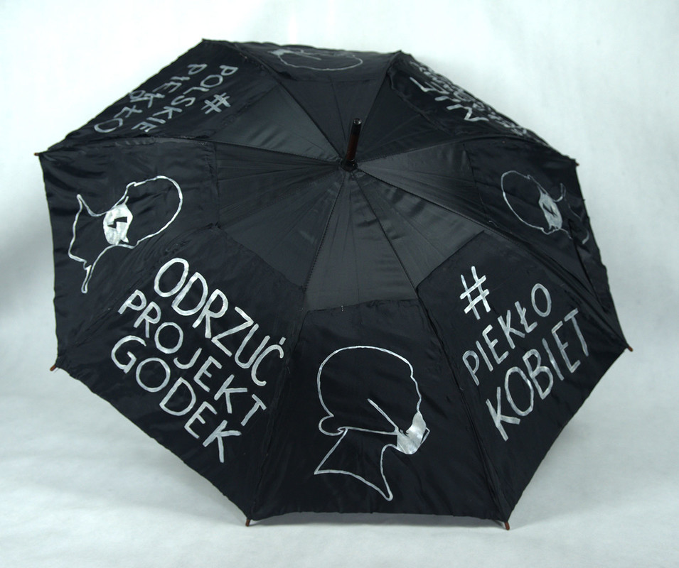 Umbrella decorated and used by Magda Górecka to protest in Szczecin, Poland, on April 14th, 2020 against the anti-abortion law.